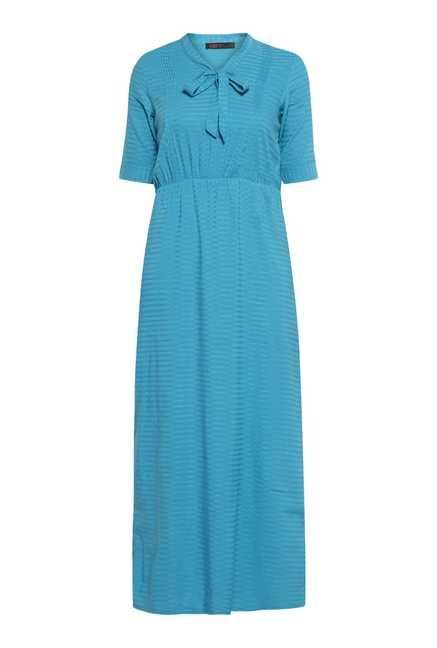 109 F Turquoise Stripes Casual Dress