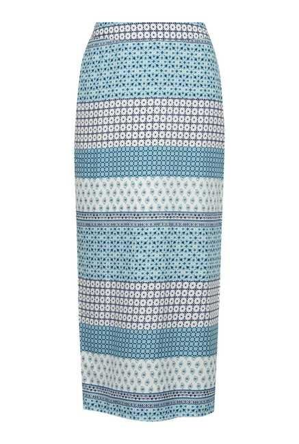 109 F Turquoise Print Casual Skirt