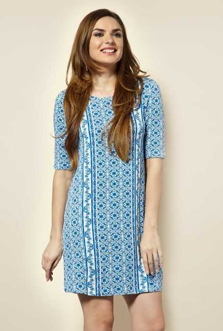 109 F Blue Geometric Dress