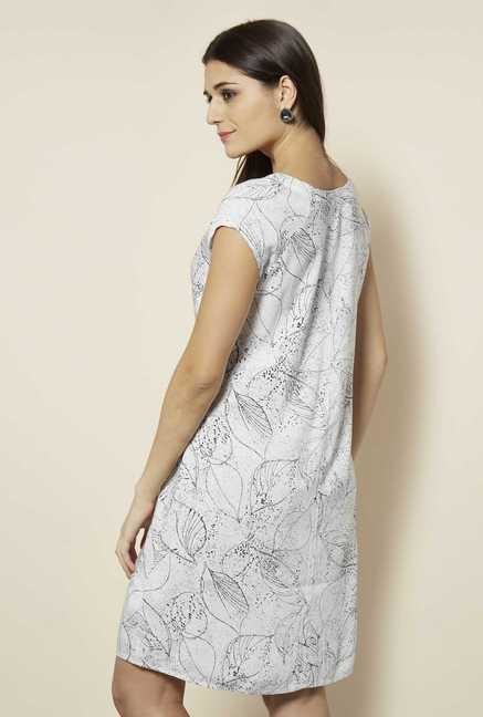 109 F White Print Casual Dress