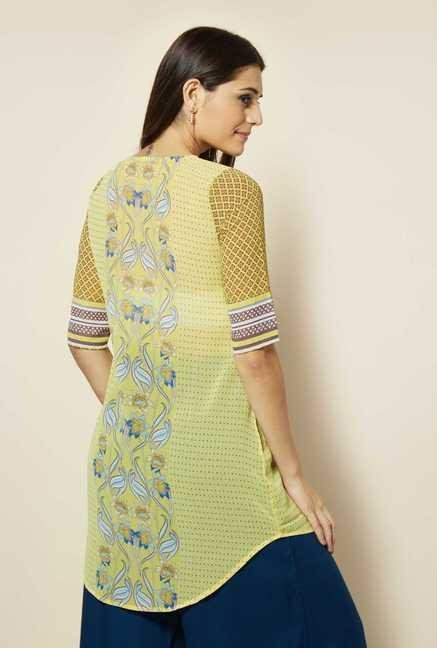 109 F Yellow Printed Kurta