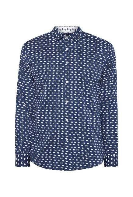 Easies Navy Bow Print Shirt