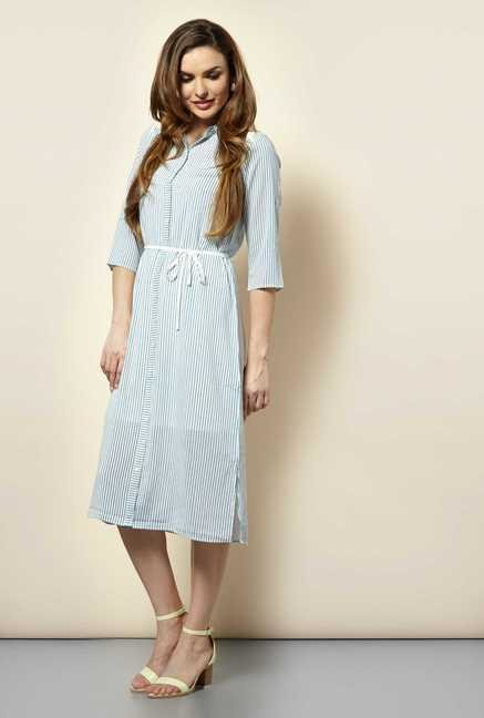 109 F Blue Stripes Casual Dress