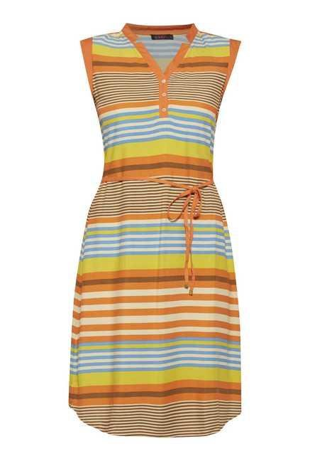 109 F Multicolor Stripes Casual Dress