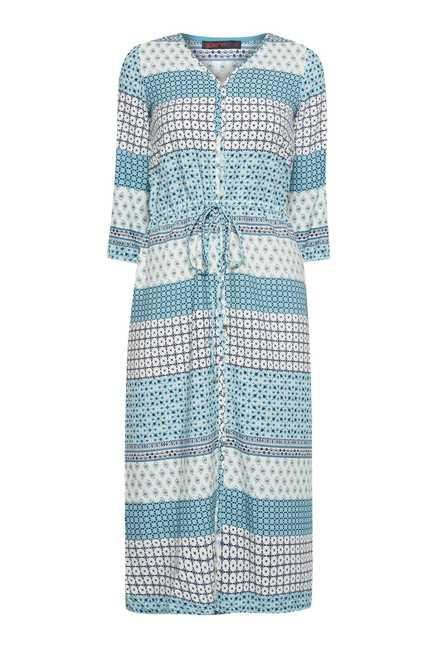 109 F Turquoise Print Casual Dress