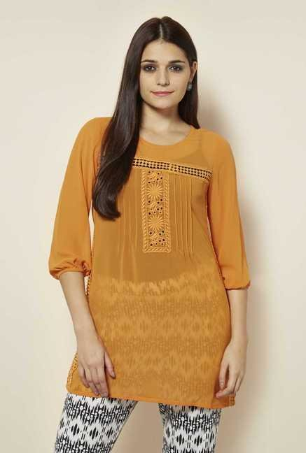 109 F Papaya Embroidered Kurti