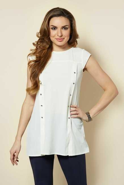 109 F White Solid Tunic