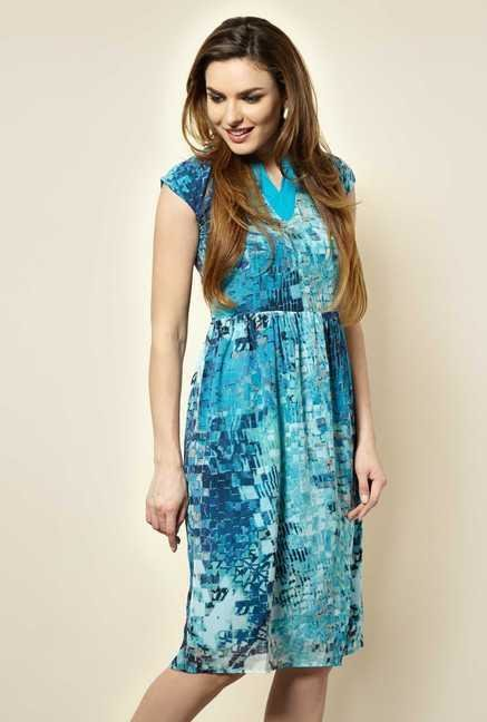 109 F Blue Graphic Casual Dress