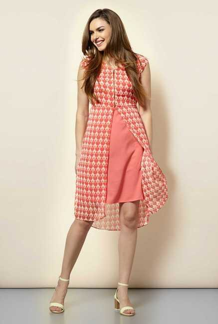 109 F Peach Print Casual Dress