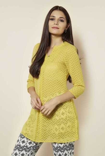 109 F Lime Embroidered Kurti