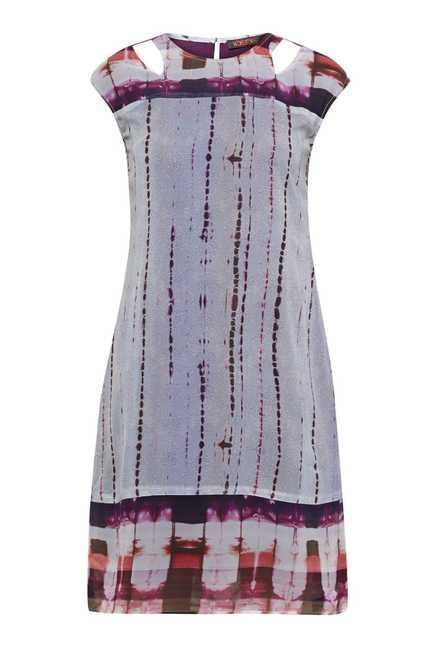 109 F Purple Print Casual Dress