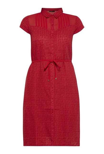 109 F Red Print Casual Dress