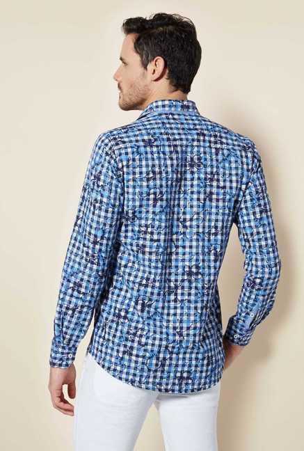 Easies Blue Cotton Checks Shirt