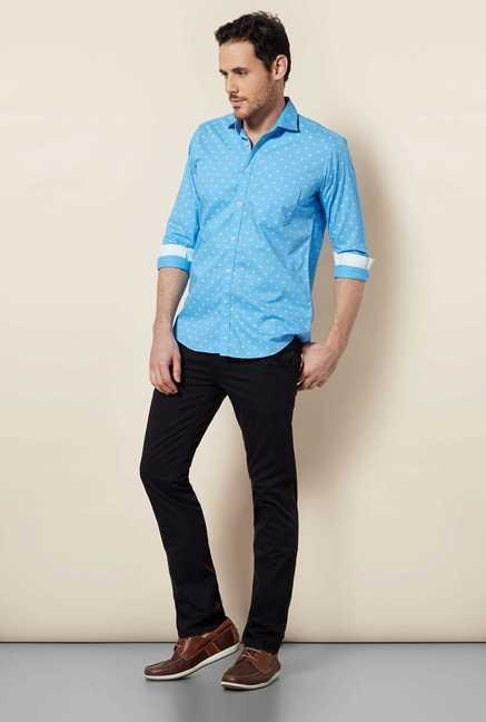 Easies Aqua Blue Galaxy Print Shirt
