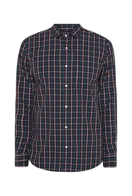 Easies Dark Brown Cotton Checked Shirt