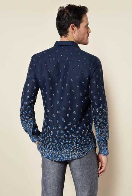 Easies Navy Flower Print Shirt
