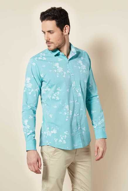 Easies Aqua Printed Shirt