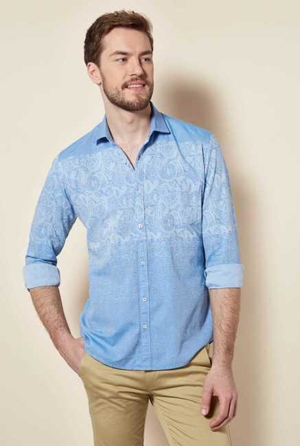 Easies Vista Blue Cotton Shirt