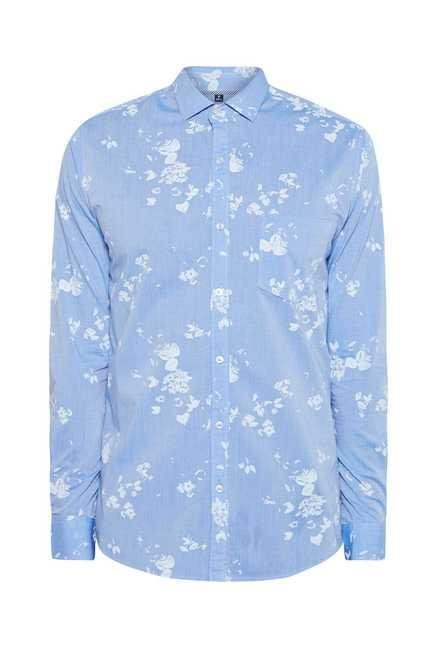 Easies Sky Blue Printed Shirt