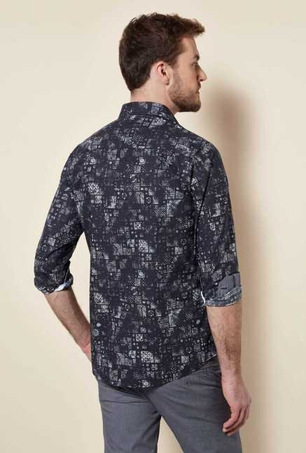 Easies Black Abstract Print Shirt