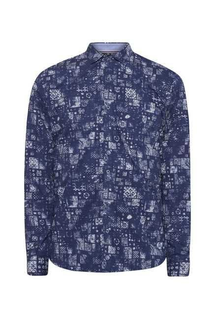 Easies Navy Abstract Print Shirt