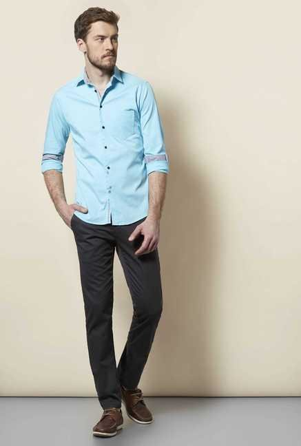 Easies Turquoise Slim Fit Shirt
