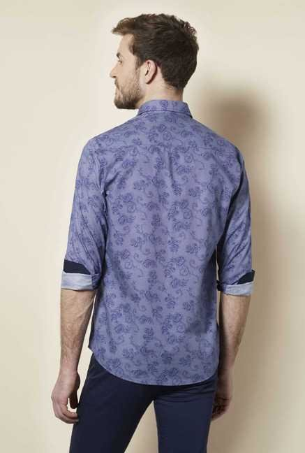 Easies Navy Floral Print Shirt