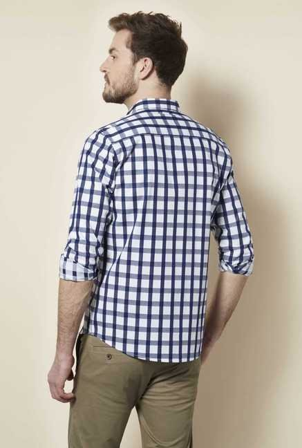 Easies Navy White Checked Shirt