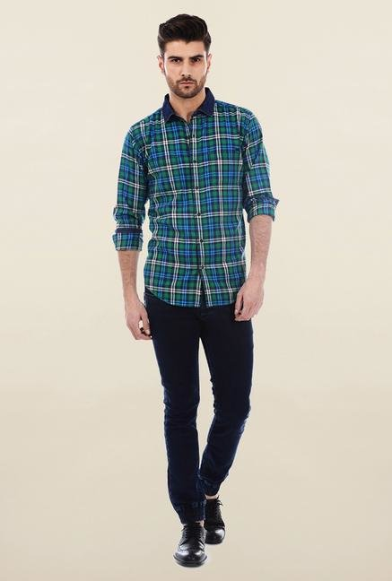 Basics Green Twill Woven Plaid Shirt