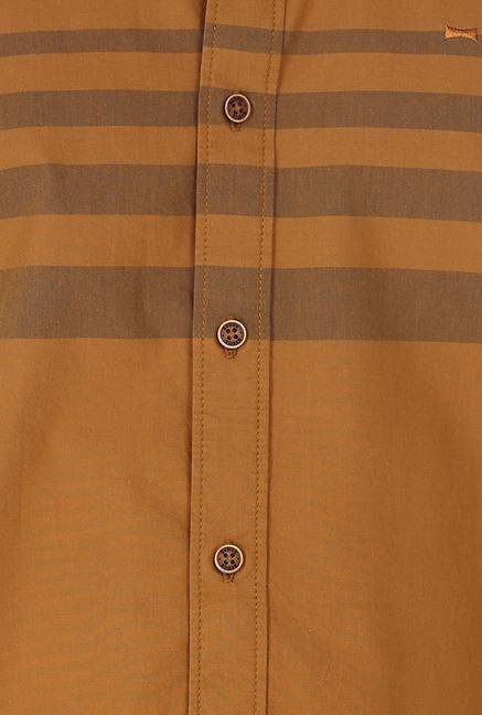 Basics Brown Engineering Stripe Shirt