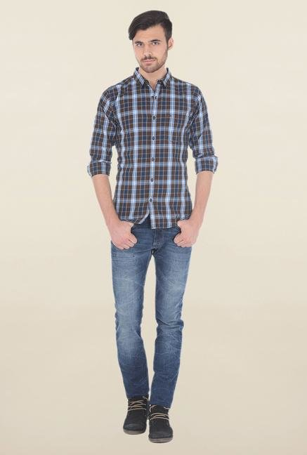 Basics Brown Multicolored Checked Shirt