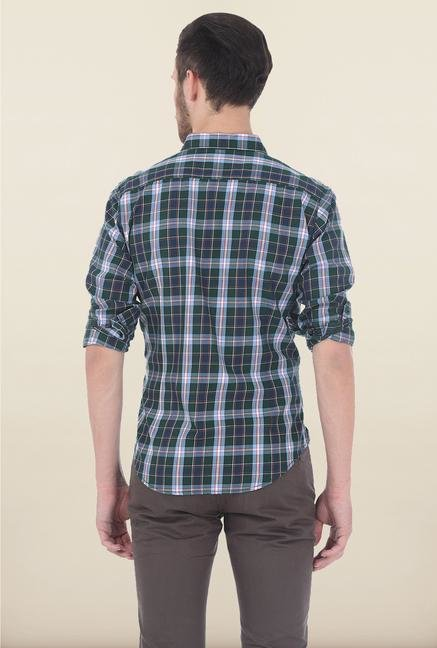 Basics Green Checked Casual Shirt