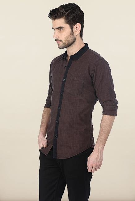 Basics Brown Houndstooth Shirt