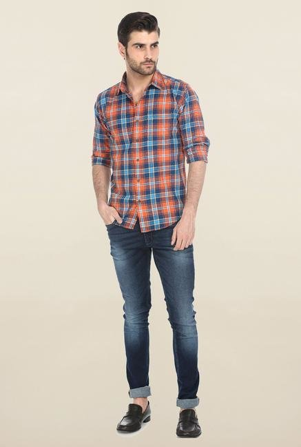 Basics Orange Tartan Plaid Shirt