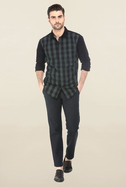 Basics Black & Green Checked Shirt
