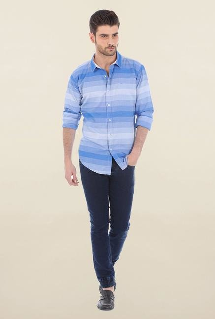 Basics Blue Engineering Stripe Shirt