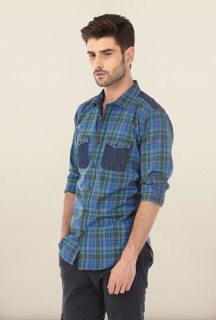 Basics Blue Dark Shadow Plaid Shirt