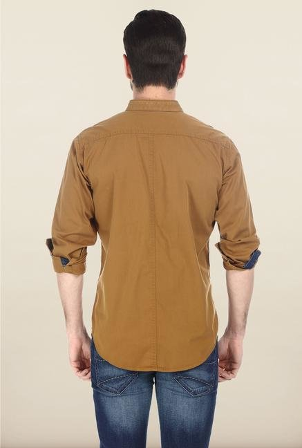 Basics Mid Brown Twill Woven Shirt