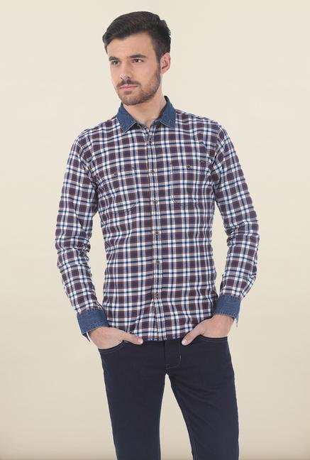 Basics Blue Plaid Brushed Shirt