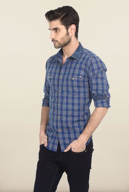 Basics Blue Retro Checked Shirt