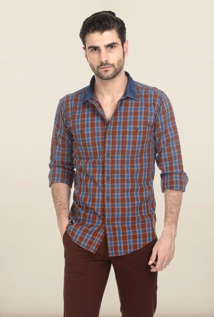 Basics Mid Brown Retro Checked Shirt