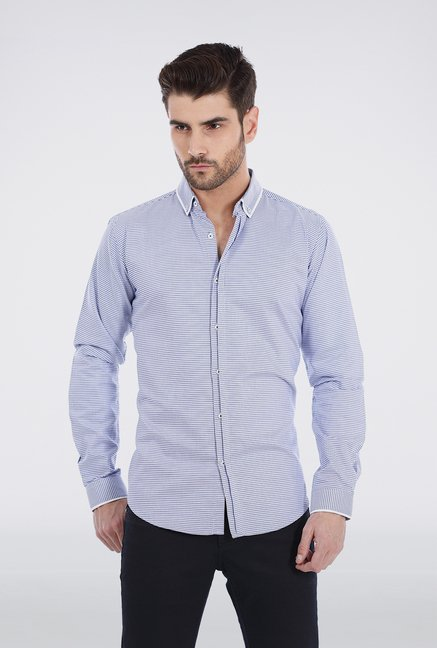 Basics Blue Houndstooth Shirt