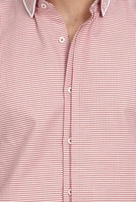Basics Red Houndstooth Shirt