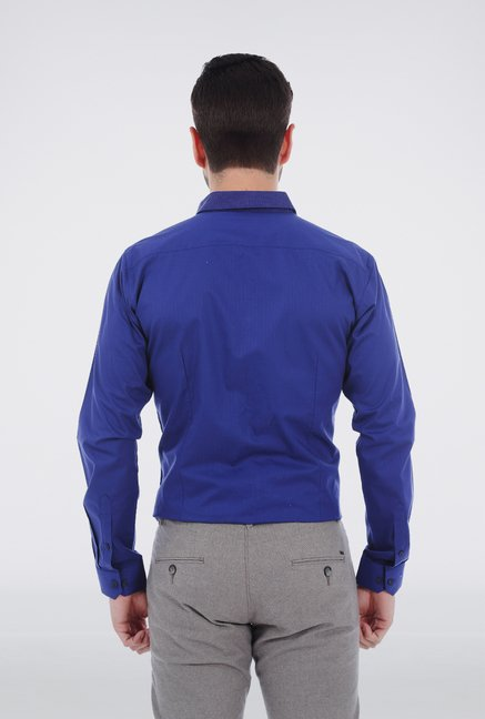 Basics Blue Yarn Dyed Herringbone Shirt
