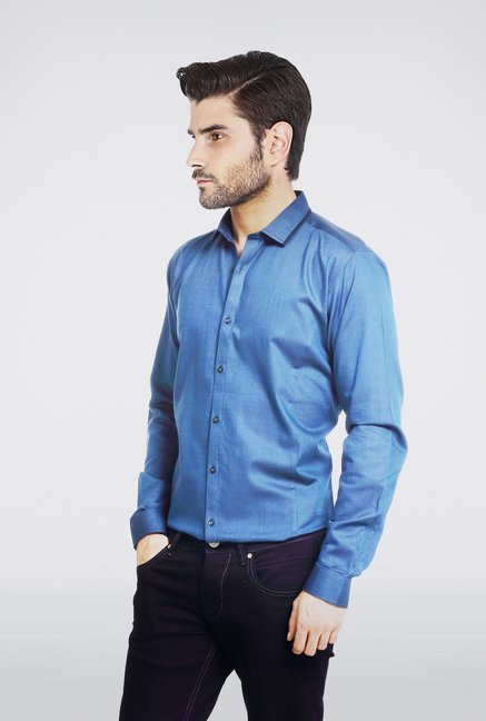 Basics Dark Blue Micro Dobby Shirt