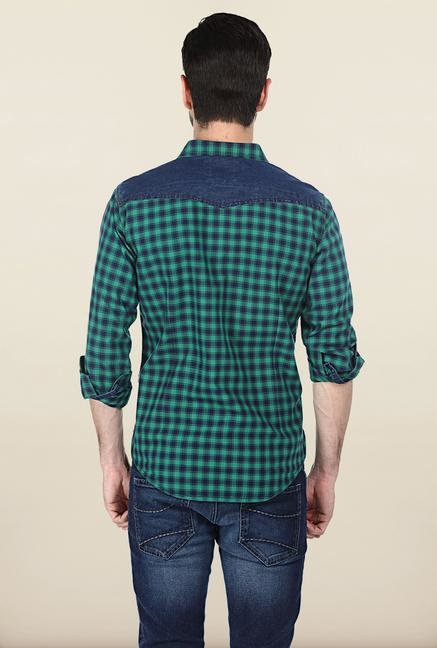 Basics Green Gingham Plaid Oxford Shirt