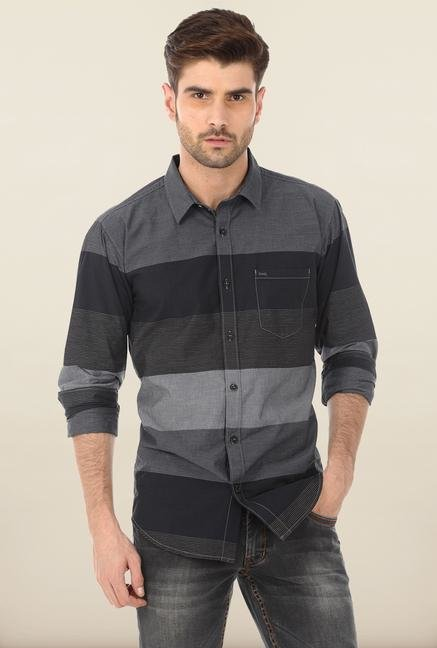 Basics Grey Pinstripe Casual Shirt