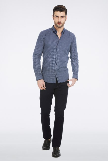 Basics Navy Print Shirt