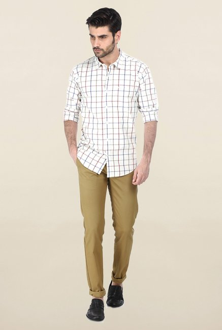 Basics White & Red Windowpane Checked Shirt