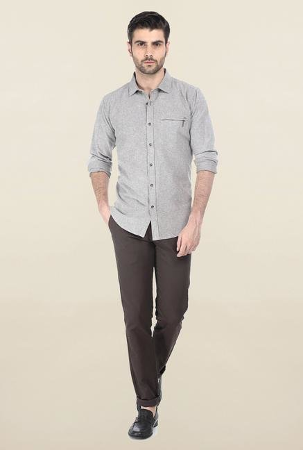 Basics Brown Oxford Weave Shirt